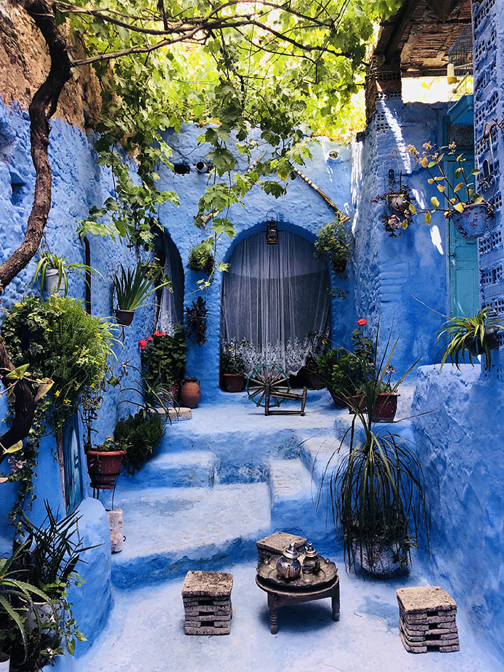 One of many cool courtyards in Chefchaouen