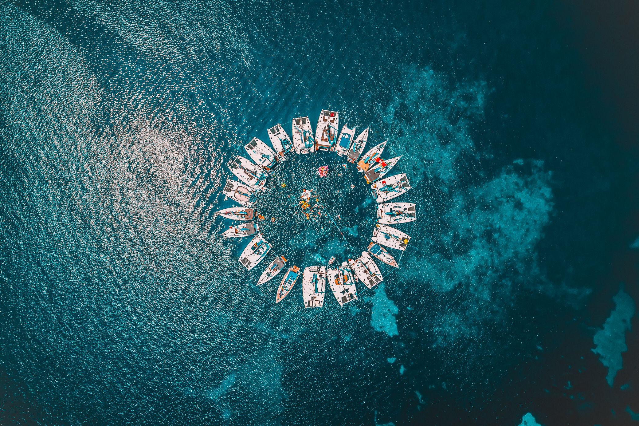 Yachts of The Bucketlust raft up in trademark formation on 'The Sardinia Route'. Photo Credit Roam Travel PR via The Bucketlust
