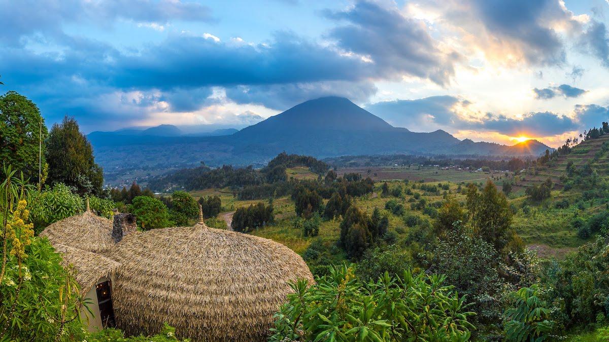 View of Rwandan countryside from Bisate Lodge