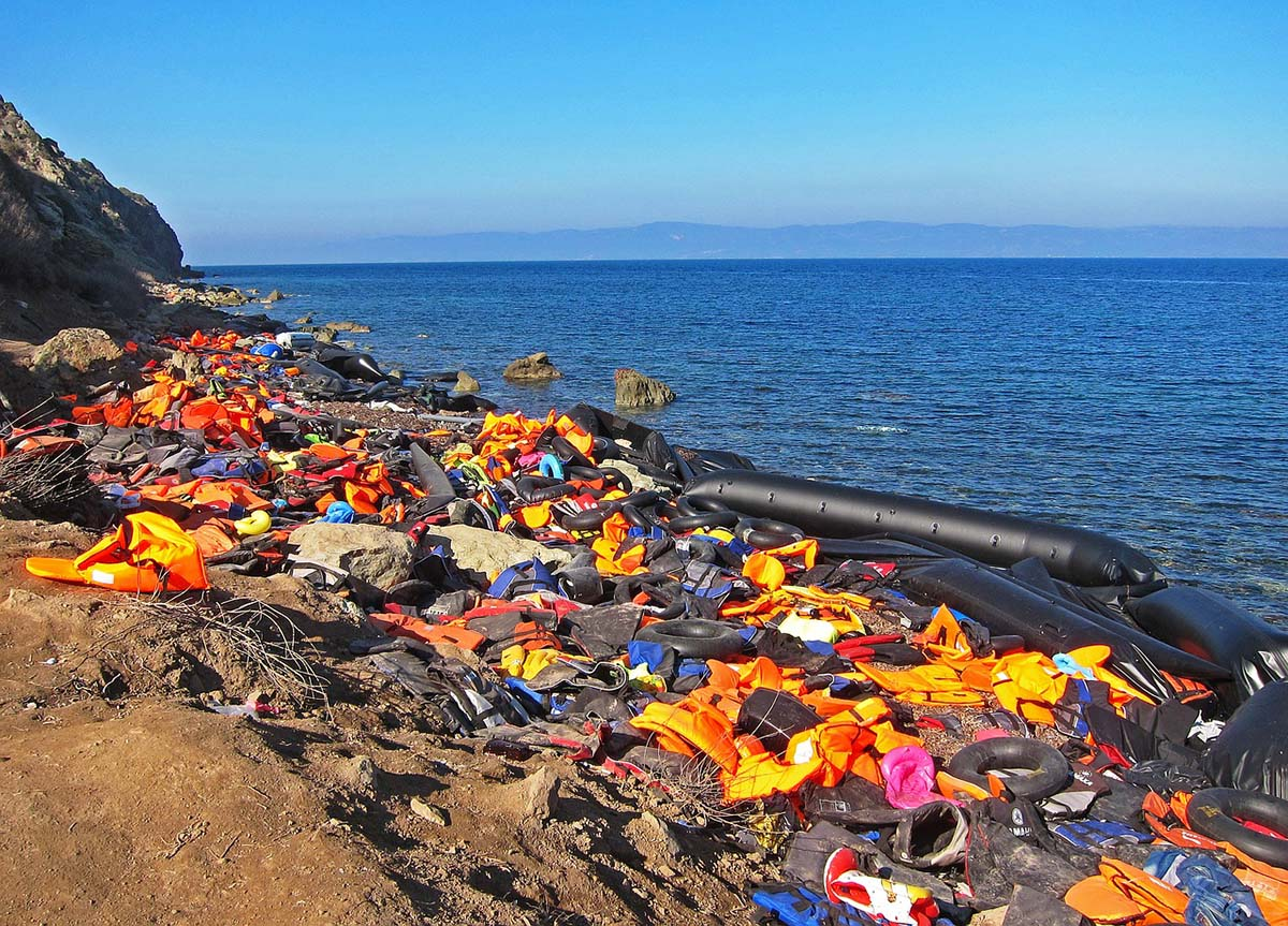 Discarded life jackets on Lesvos Island.