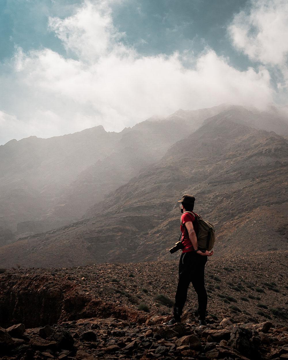 Exploring Oman's mountain ranges.