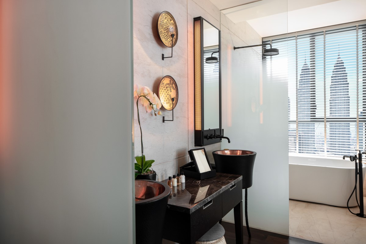 The RuMa Hotel Deluxe Suite Bathroom with Petronas Towers View