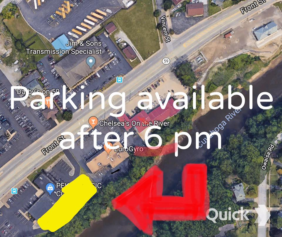 Overflow Parking - Monday through Friday after 6pm and on weekends, guests are allowed to park in the pictured lot behind Pekar Music. We ask that you please respect this property and understand that you are an extension of us. So far this is the only parking lot we have been approved to utilize, so please respect our neighbors and signage. Thanks!