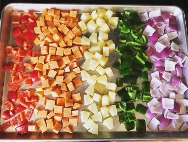 I added the onion just to complete the rainbow. Because perfectionism.