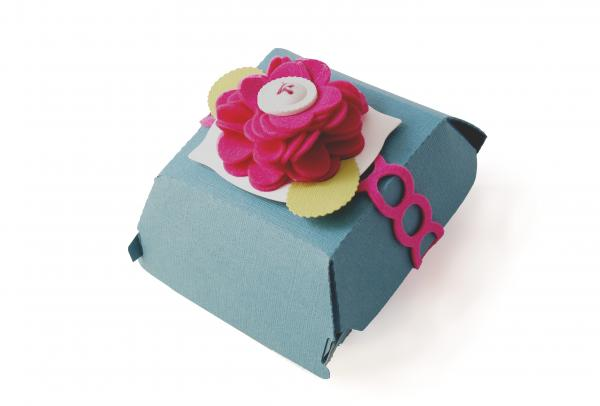 I used the  Circles Die  to cut a felt embellishment for this  Hamburger Box . See a the  Nesting Blossoms  Felt Flower tutorial  here .