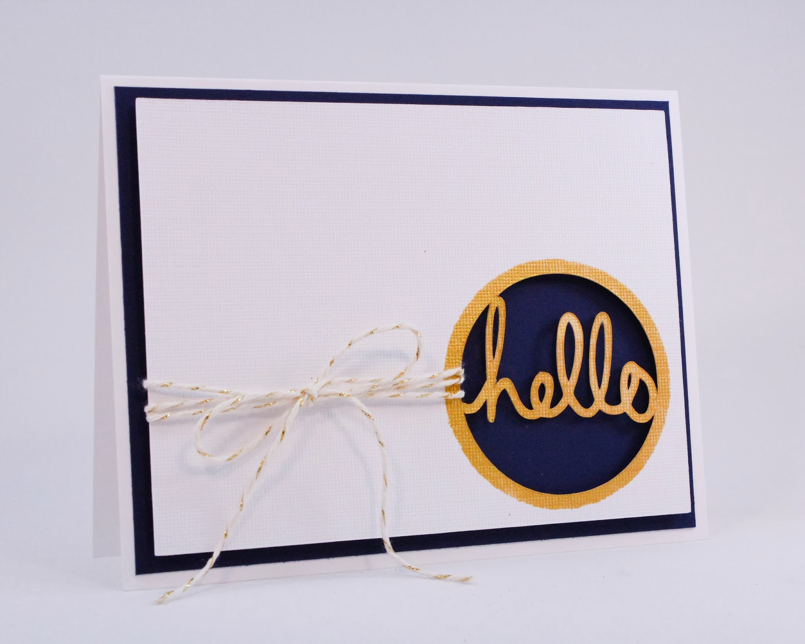 I used a mask and some gold ink to add color to just the hello and create a perfect gold border.
