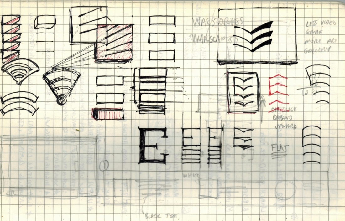 "My early logo sketches suggest the letter ""E"" while drawing inspiration from the sound waves of echoing noises and the chevrons and hashmarks of military insignia. The final choice (the larger boxed-in logo at top right) also invokes the open pages of books and the wings of aircraft in formation."