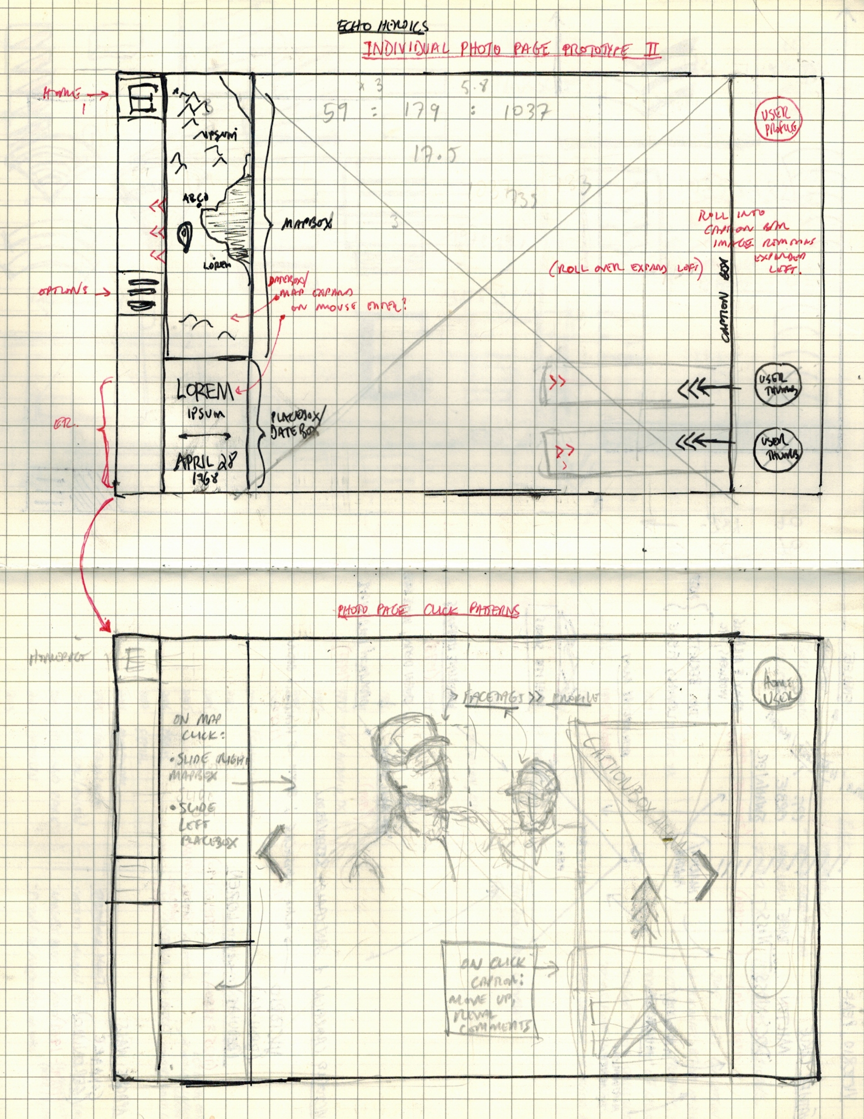 Two of my preliminary notebook sketches mapped out the  interface and click-patterns for each photograph's dedicated page, which would feature a geotagged map, thumbnails of relevant user-profiles, and the date the photo was taken.