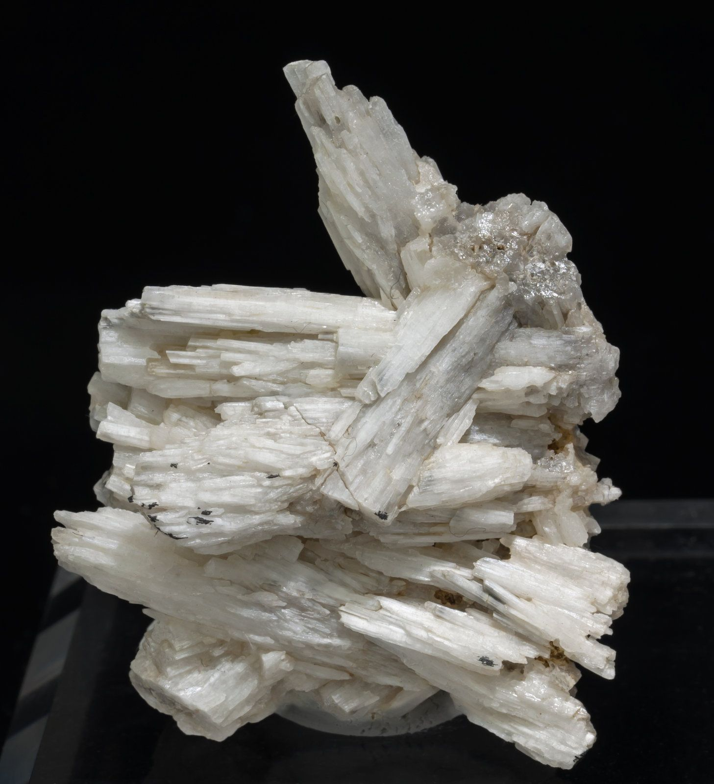 Cerussite, Chaillac Mine, Chaillac, Le Blanc, Indre, Centre-Val de Loire, France. Aggregate of white Cerussite crystals with a silky luster and a  fibrous  appearance