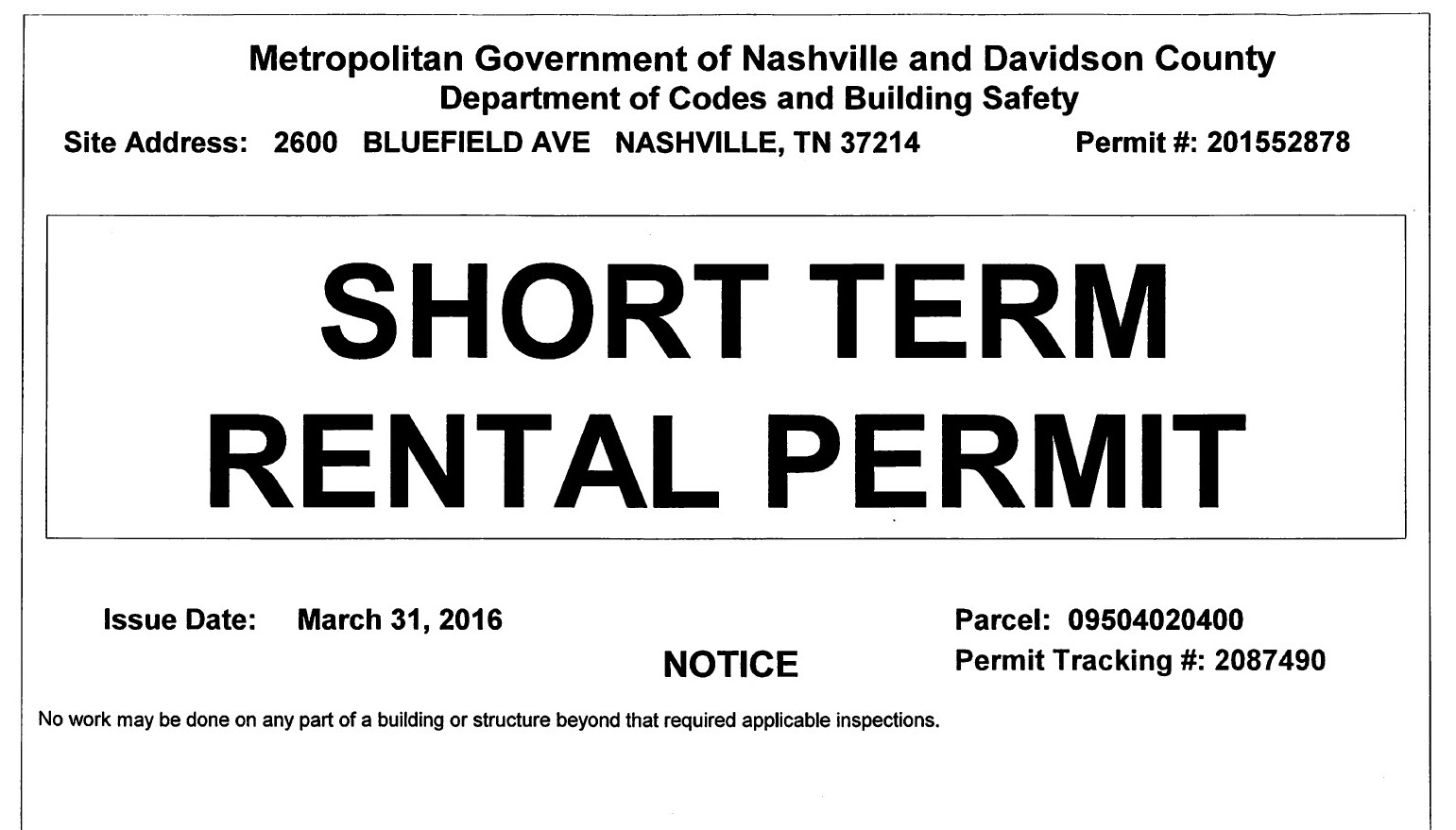Legally Permitted by the Metro Government of Nashville and Davidson County