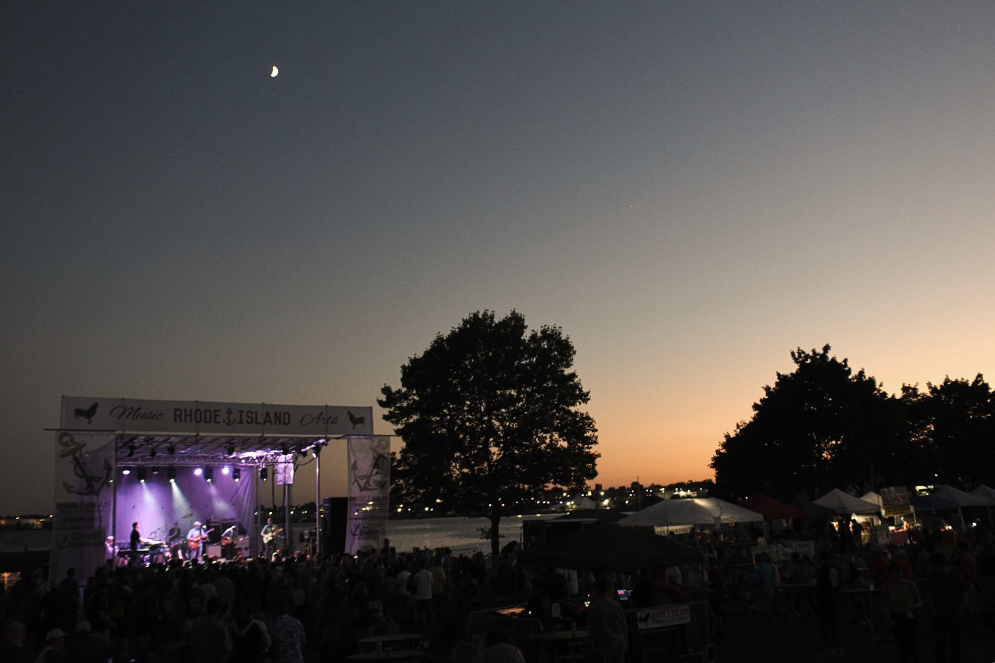 The sun sets over Providence during the 2018 Rhode Island Music & Arts Festival