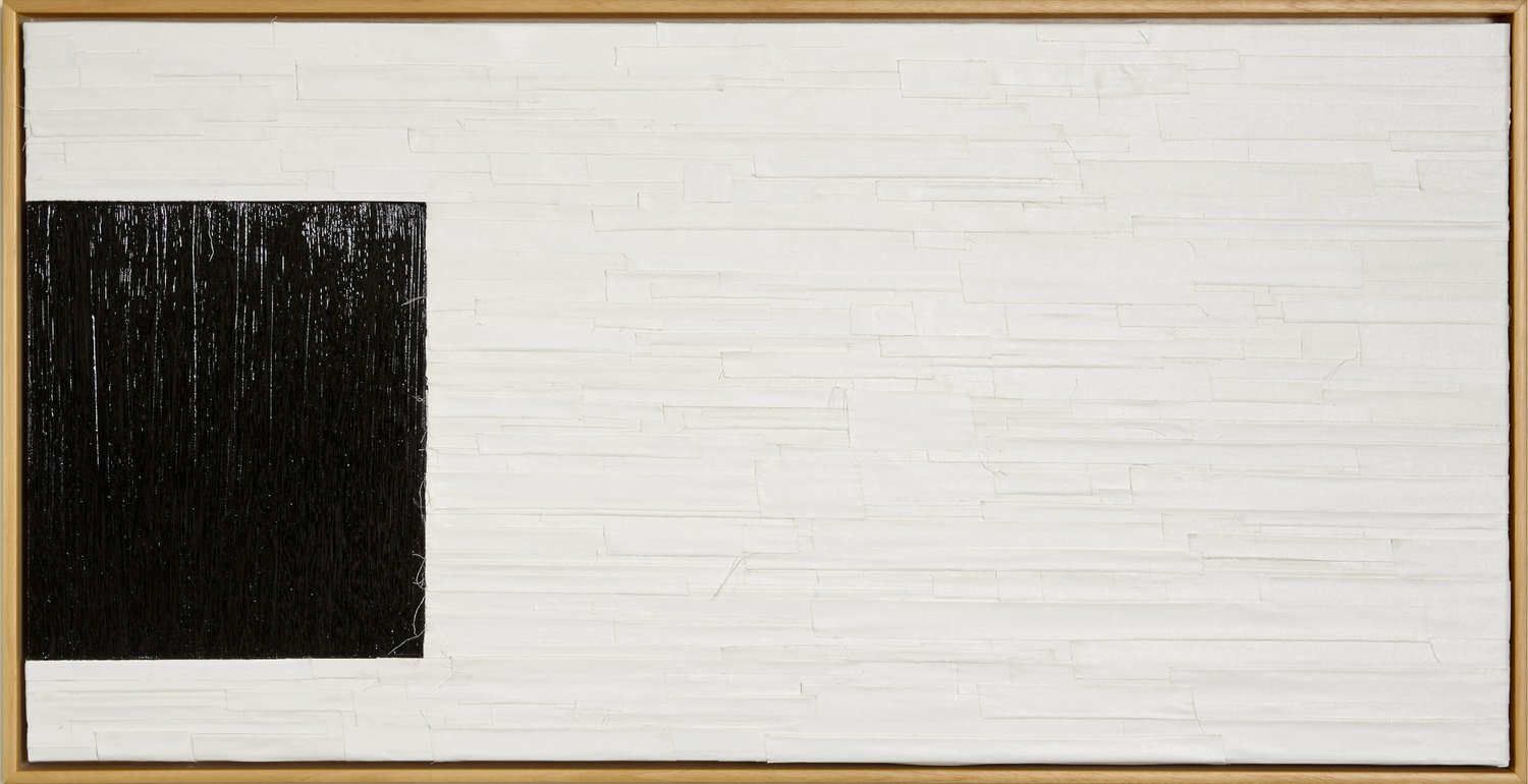 Anordnung 1, 2014, Oil, White linen tape 24 in. x 48 in.