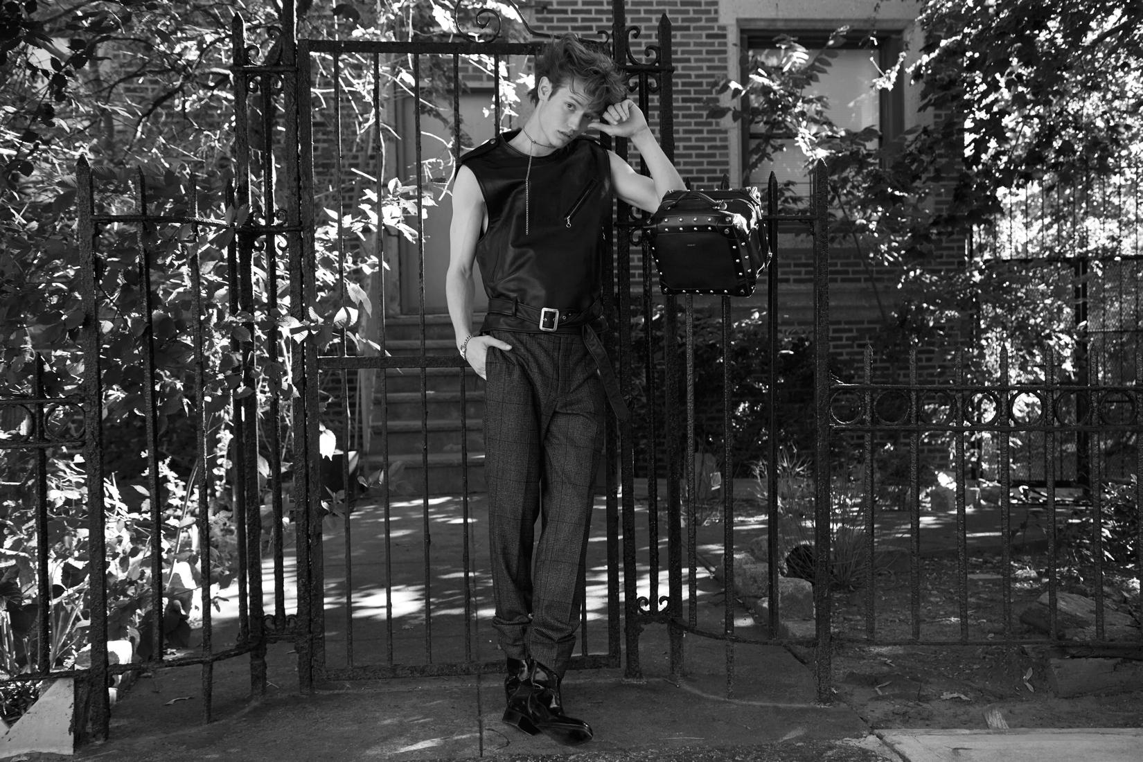 vest : HYKE pants: OFFICINE GENERALE  shoes : ROBERTO CAVALLI bag: SACAI  necklace : MARLAND BACKUS DESIGN