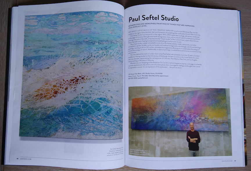 Paul Seftel Studio featured in Art scene and editorial of Guestlife Magazine, Monterey Bay 2019