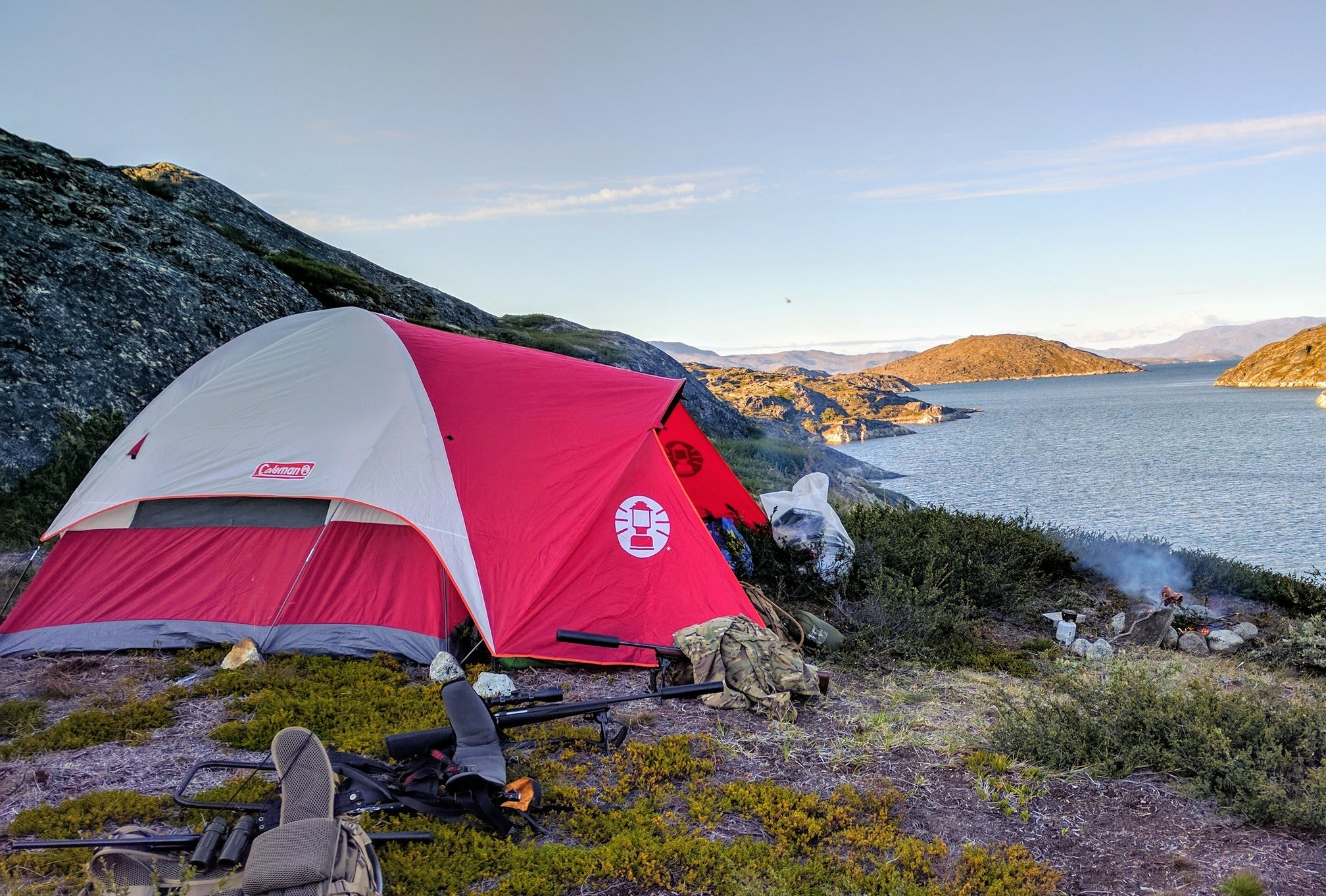Hunting camp in the Godthaab Fjord.