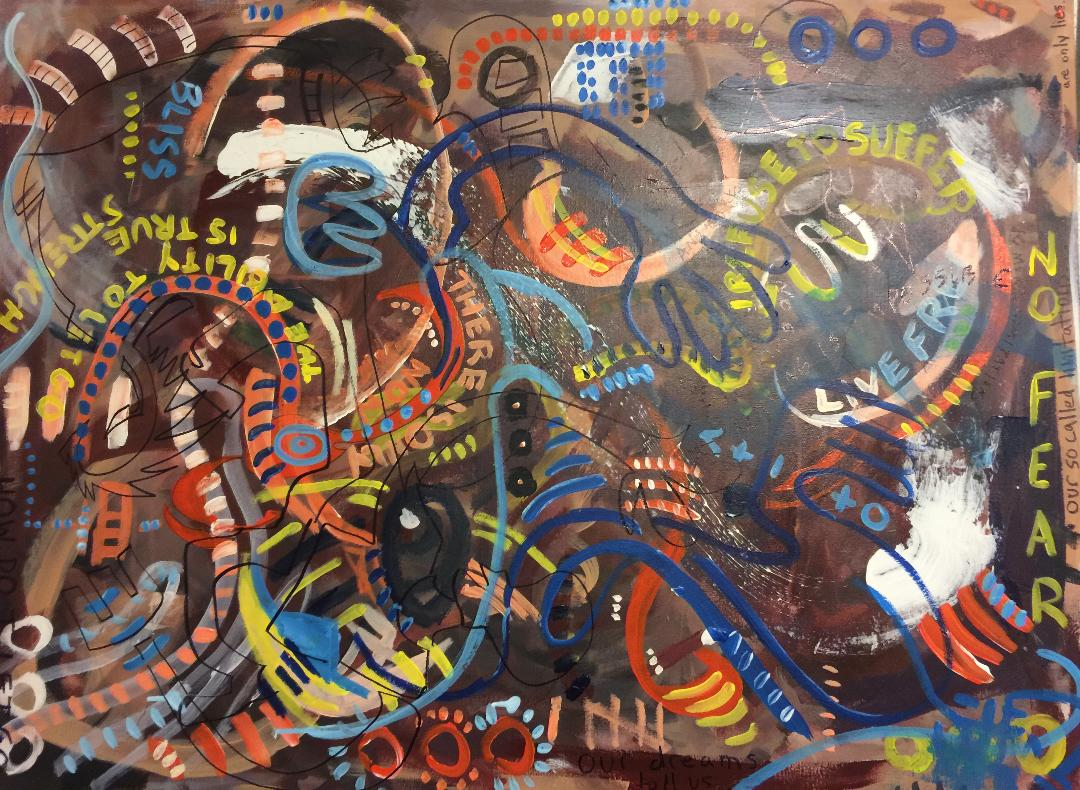 Titled: No Fear. Dimensions: 30 x 40 inches, Canvas, Acrylic, Permanent Marker, 2017