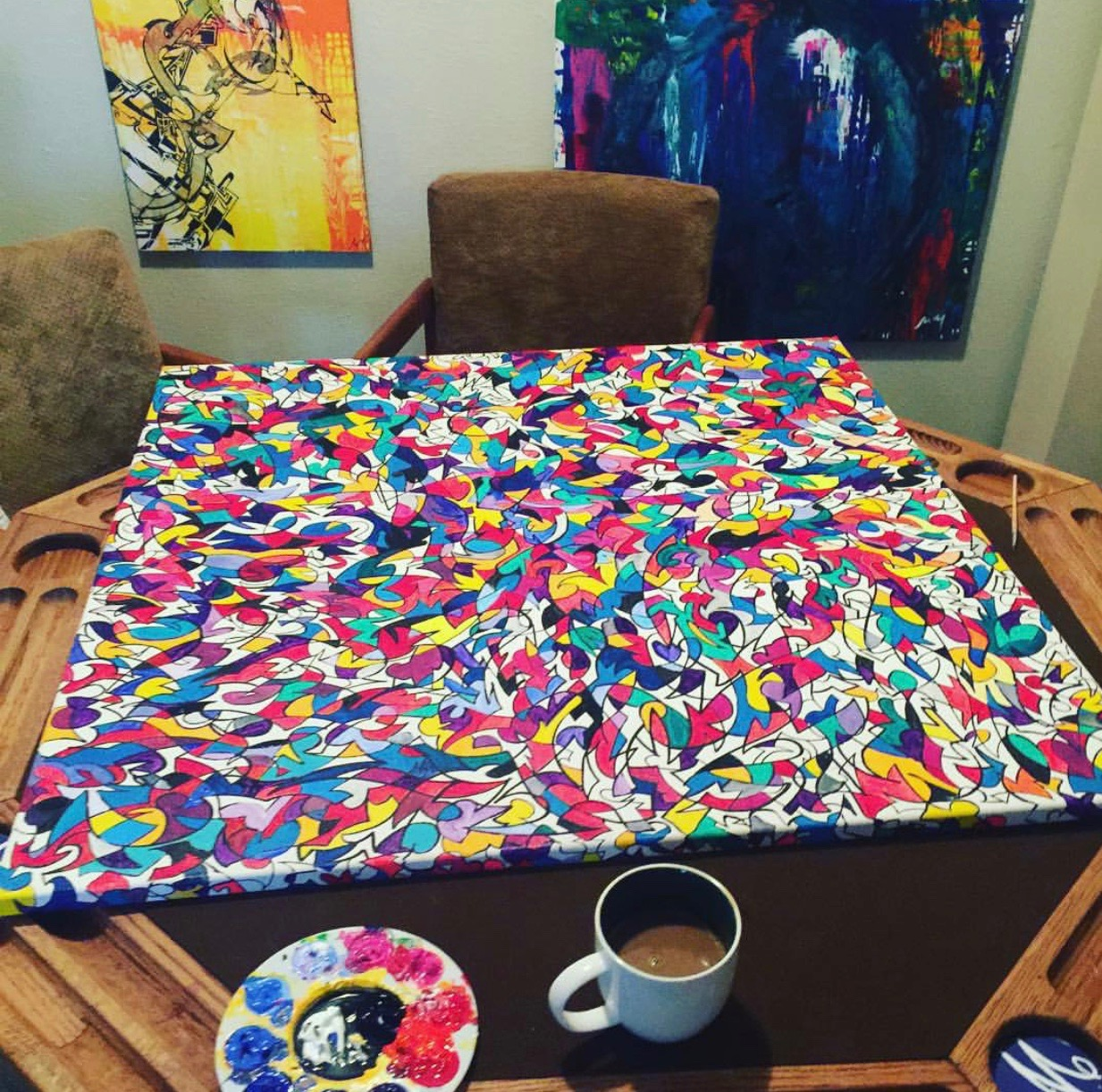 "Process Photo of painting ""Window"" in our apartment on our poker table."