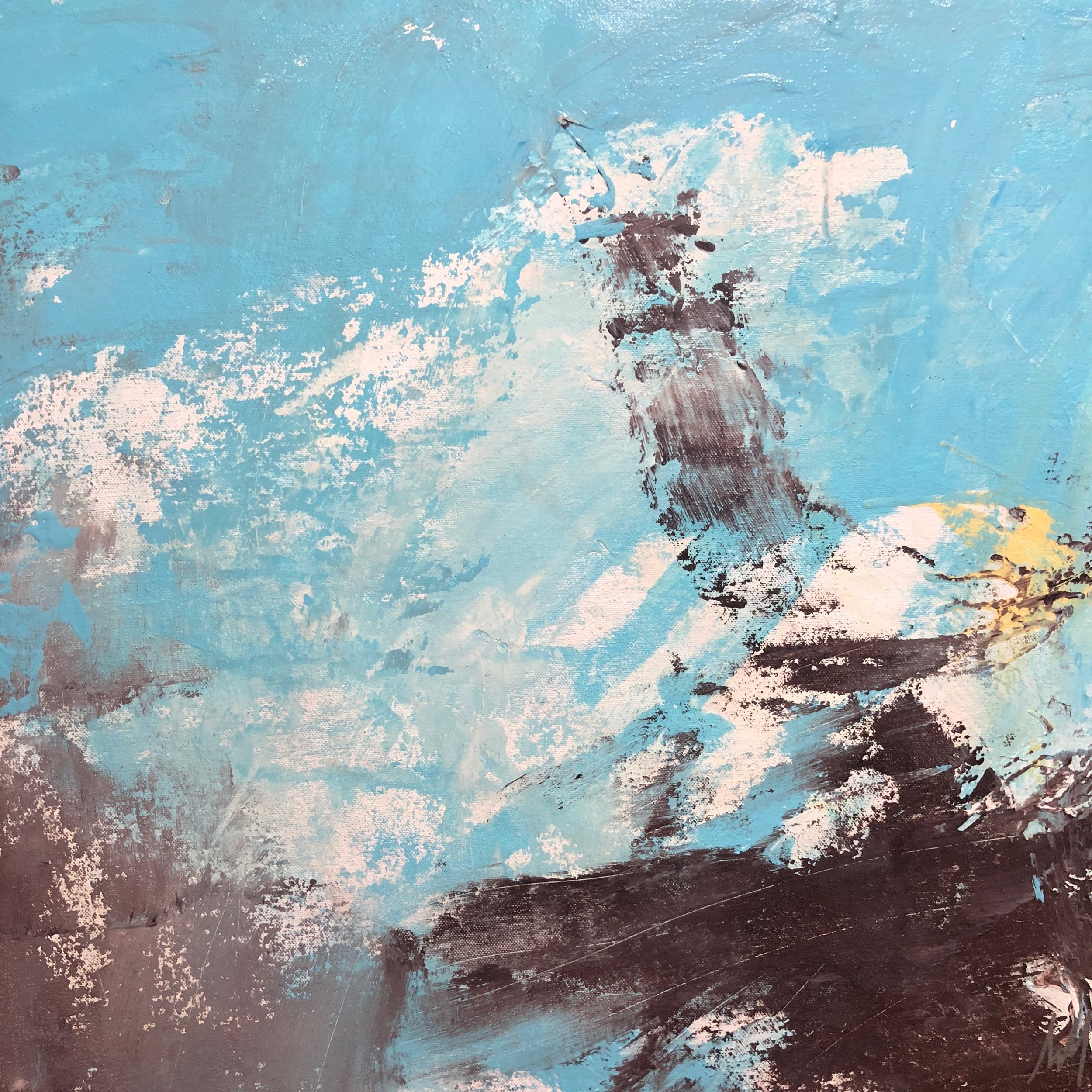 """Horizon - """"Horizon"""" is a beautiful pastel sky blue painting with wonderful calming gray and brown undertones. """"Horizon"""" pushes past boundaries with its movement and texture, symbolizing a beautiful blue horizon radiating peace and possibility."""