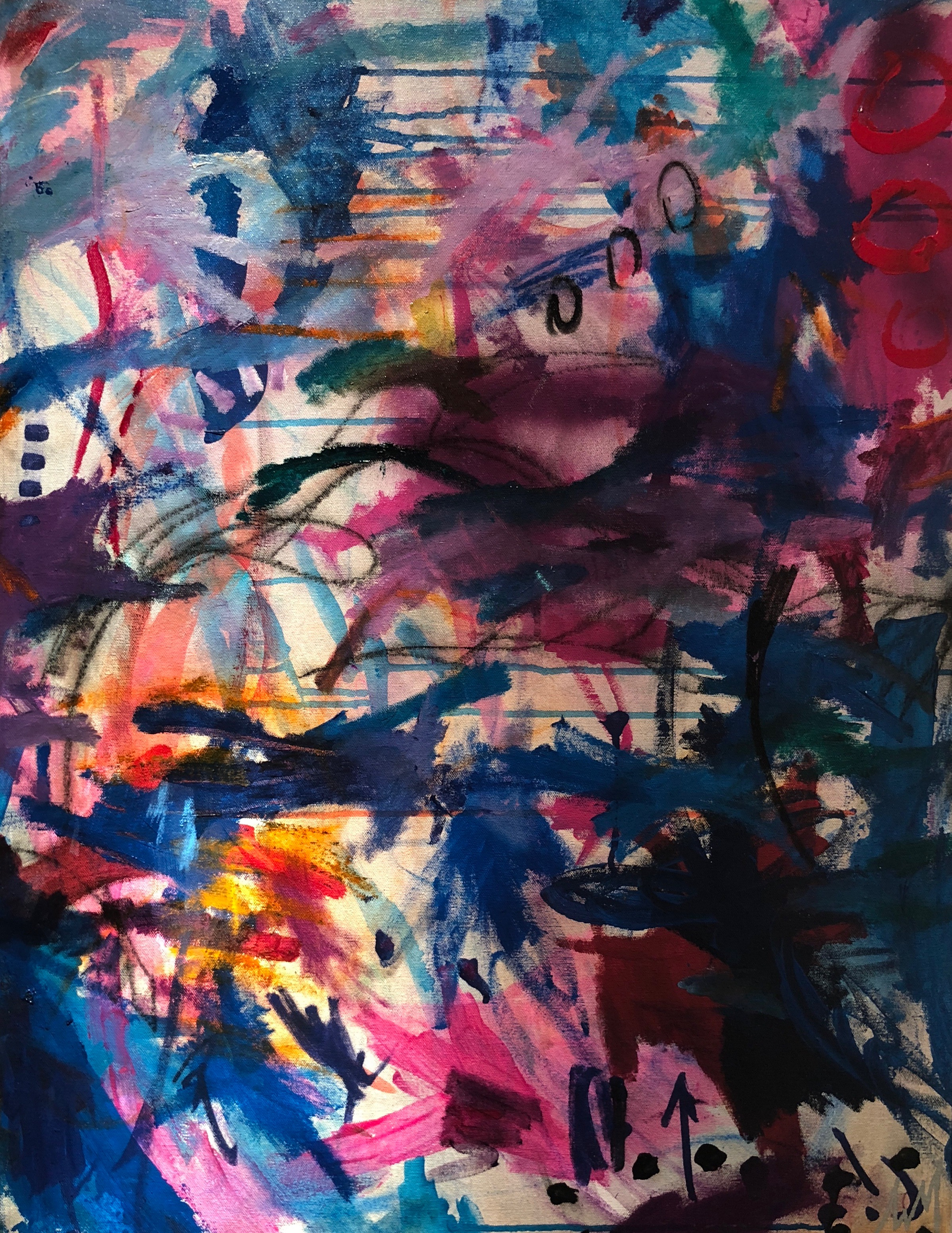 """Kismet - """"Kismet"""" is AVM's free spirited exploration into her inner world through experimentation with oil, oil pastels, along with acrylic paint. AVM allowed herself to 'let go' boldly and unapologetically in divine synchronicity."""