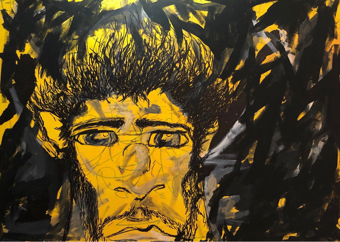 """High Yellow - """"High Yellow"""" is reflective of AVM's childhood years, where she naturally draws or paints the image of a male face. The eyes in particular are the most alluring aspect of this painting, drawing you into the windows of its soul."""
