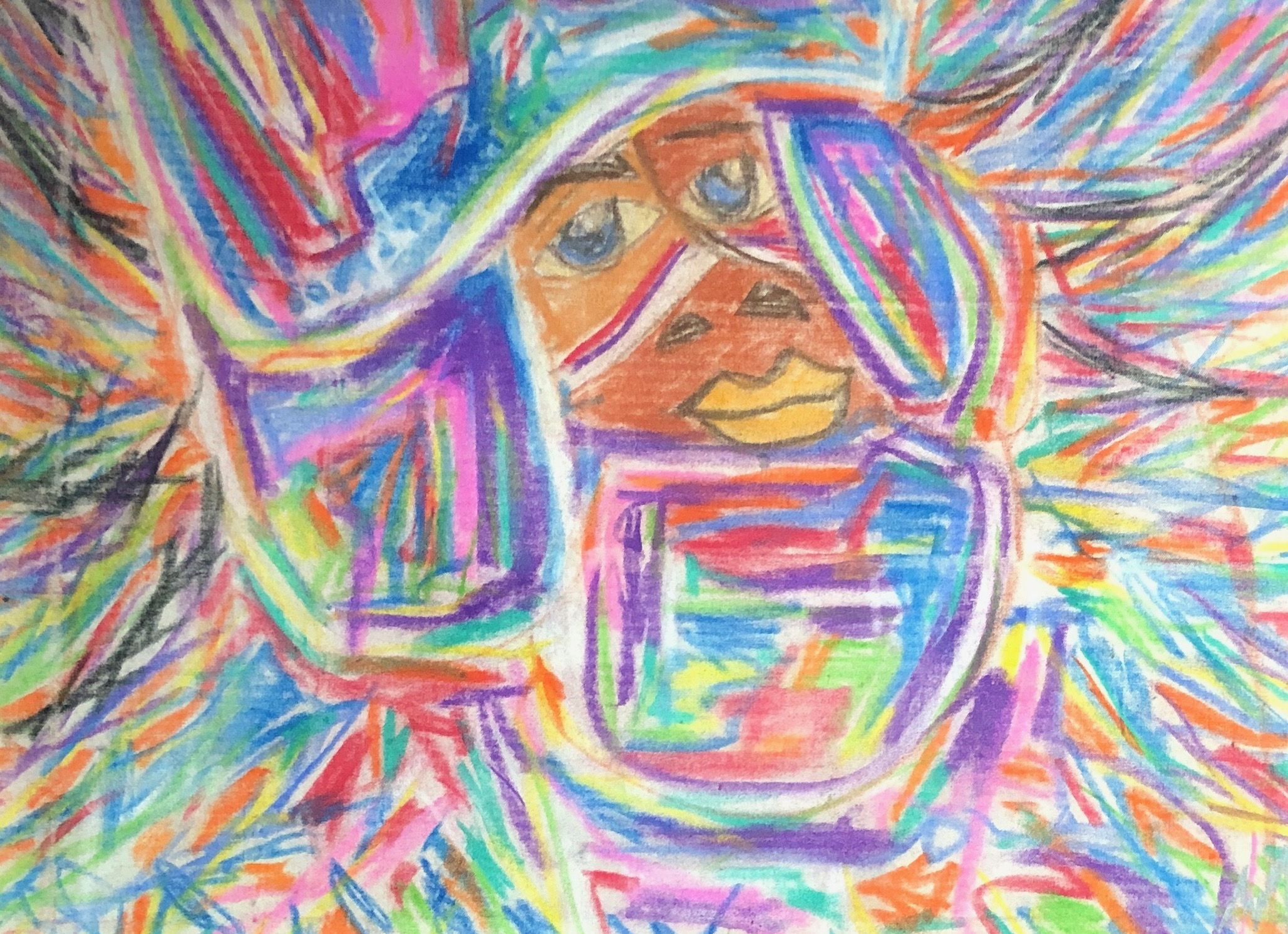 Heritage - Expressionist Mardi Gras Indian created with Oil Pastels on natural, un-primed canvas.