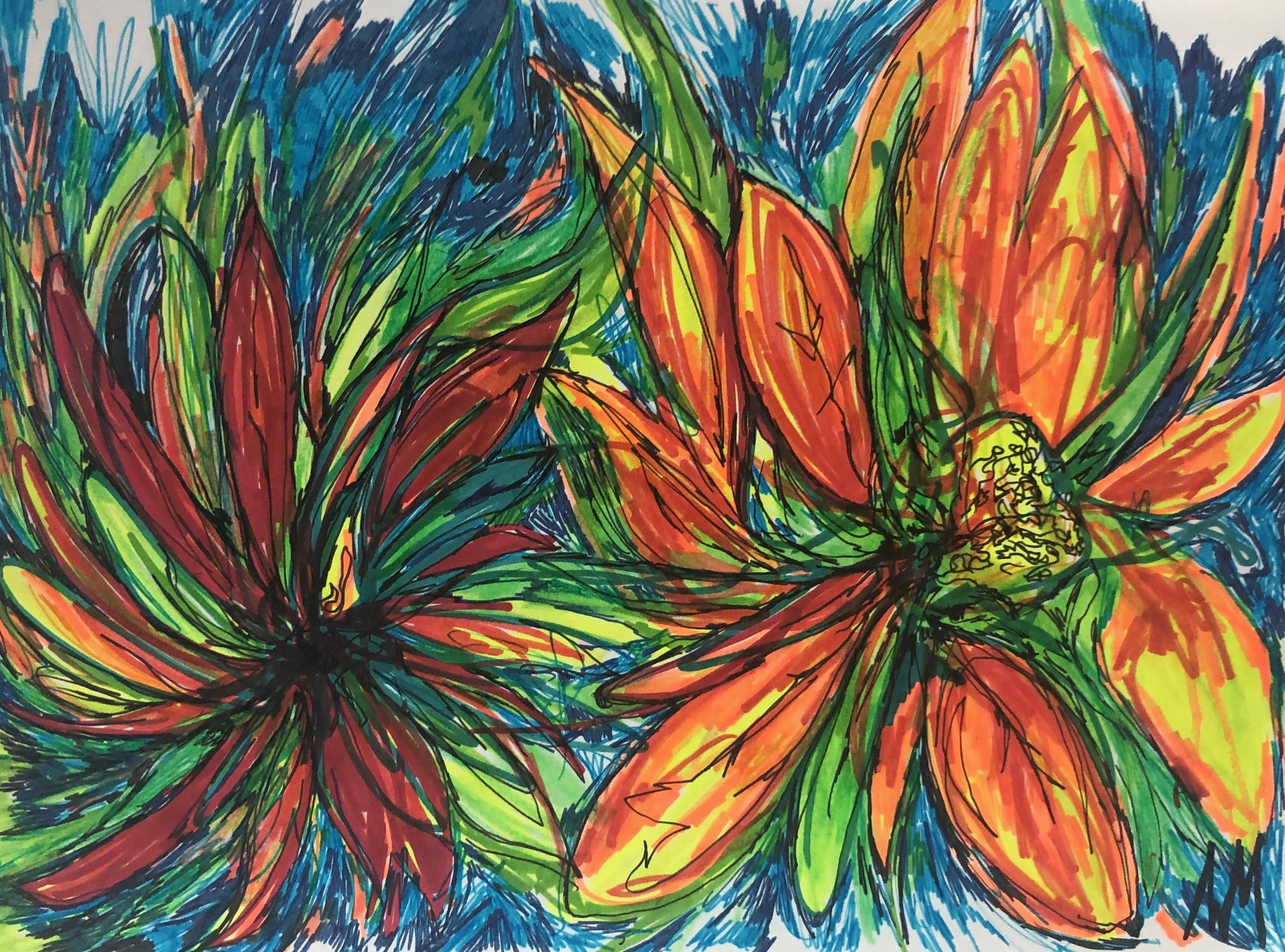 Wildflowers - A 9 x 12 Original Work on Paper Utilizing Pen, Marker, and Highlighter.