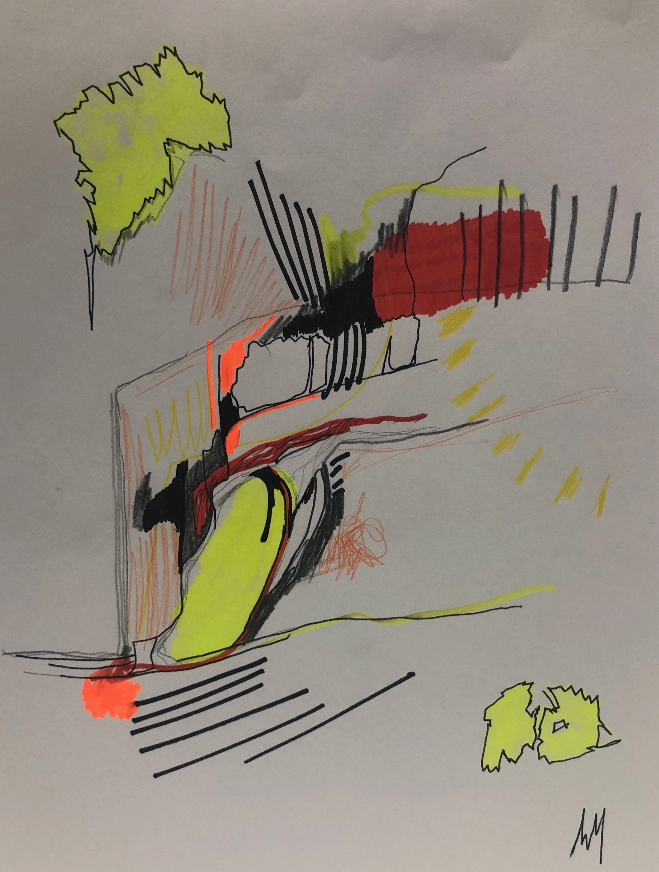 Deconstructed Sunrise - An original 12 x 9 inch on Paper, consisting of Pencil, Color Pencil, Marker, Highlighter and Pen.