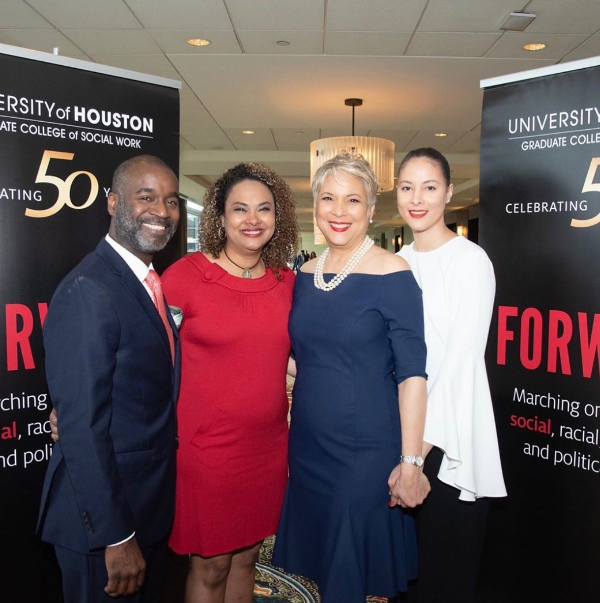 University of Houston Graduate College of Social Work Luncheon: Celebrating 50 Years. April 11th, 2019 at the Hilton Americas in Houston, Texas. Photo from Left to Right: Mark Anthony Hawkins, AVM Hawkins, Laurie Vignaud and Lindsey Vignaud Marshall Ott.