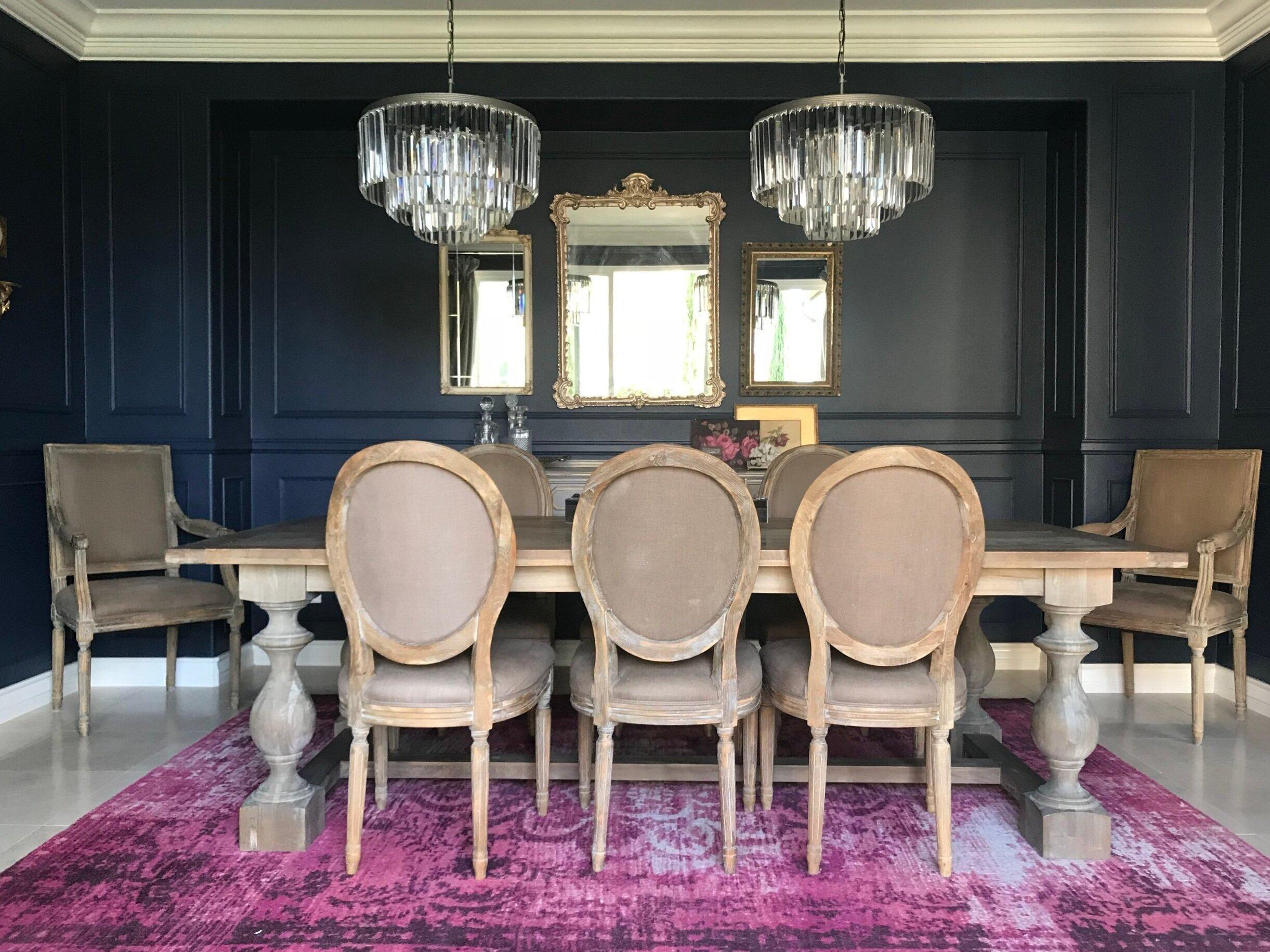 Elegant Navy Blue Dining Room, Navy Blue Dining Room