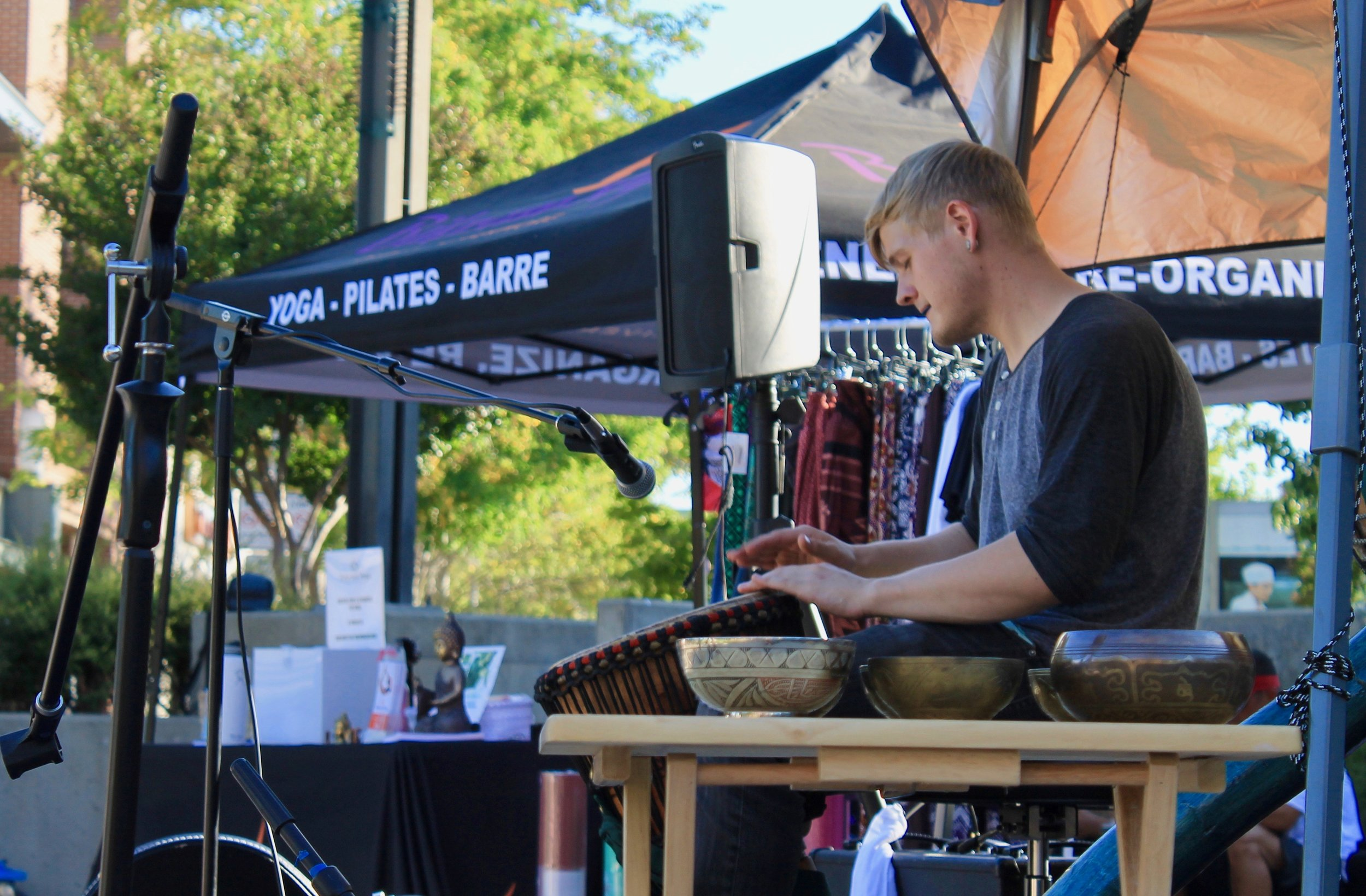 Live Music with an intentional and improvisational blend of tones, rhythms, and vibrations of the hand pan, didgeridoo, keyboard, flute, voice and upbeat drumming that follows and supports the flow of yoga. -