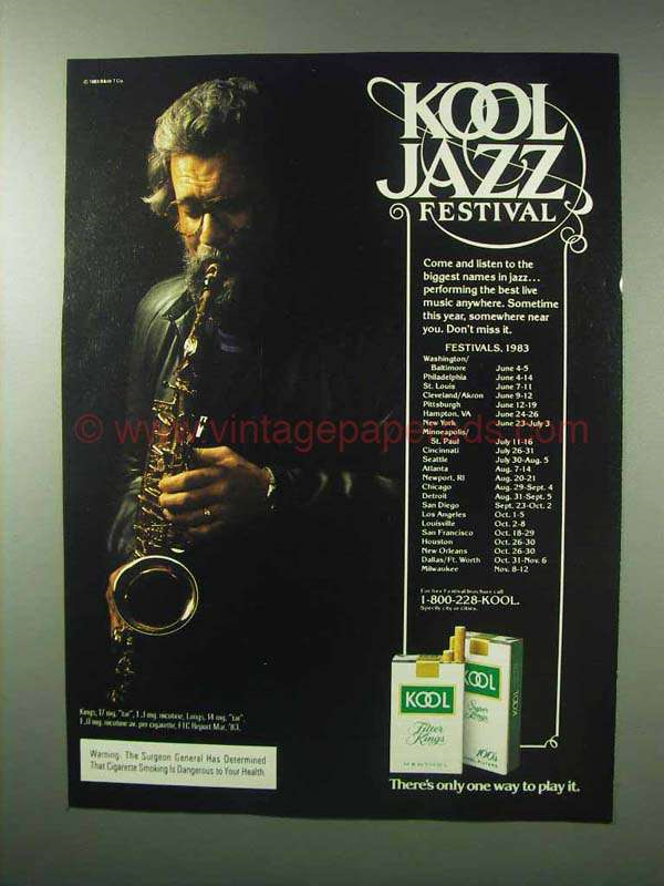 Poster for the Kool Jazz Fest 1983. Touring 24 cities, including Minneapolis And St. Paul