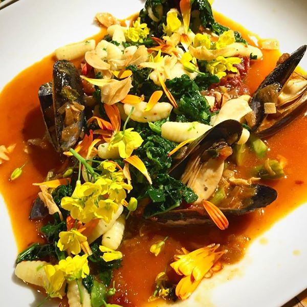 Penn Cove Mussels, House Made Cavatelli Pasta, Flowers from the Garden