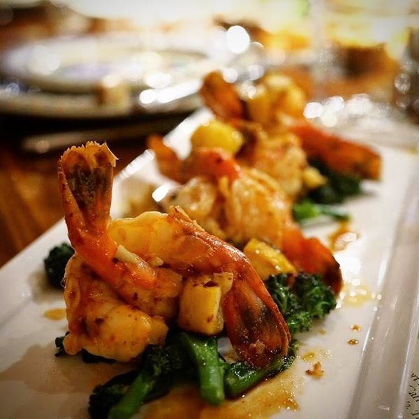 Marinated Spot Prawns with Grilled Lemon and Rabe