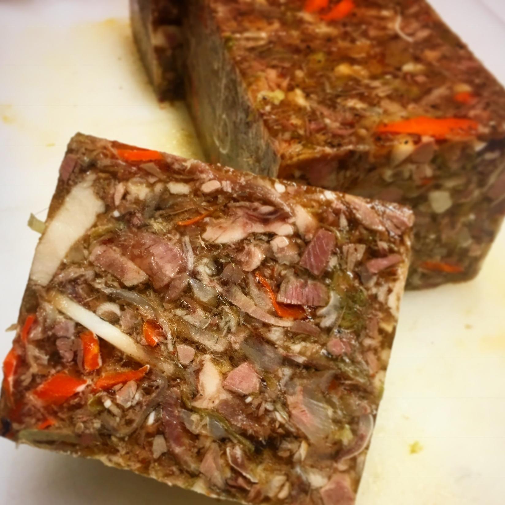 """Pork """"head cheese"""" Terrine en Gélée"""