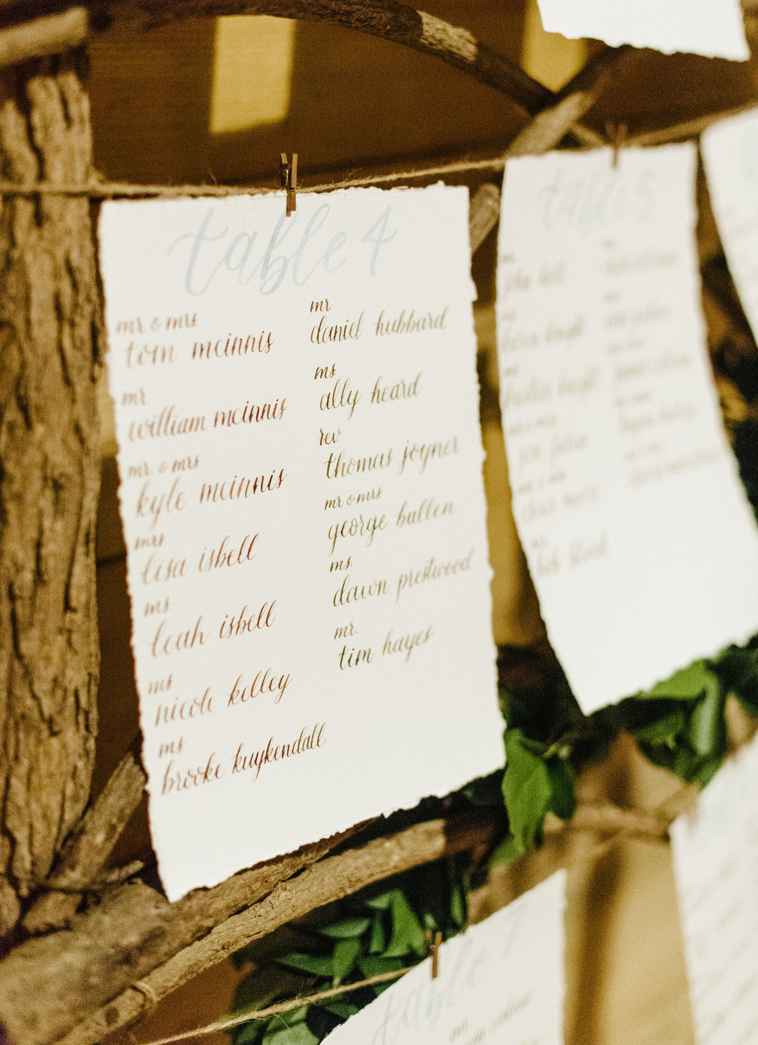 Seating Chart Calligraphy