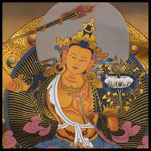 "Manjushri or ""Gentle Glory,"" the bodhisattva associated with wisdom."