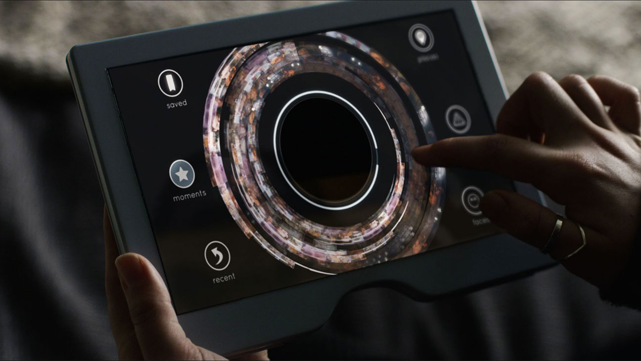 With an iPad like screen the mother can see what her daughter sees and 'filter' her experience of life for 'safety'. -