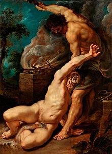 Cain slaying Abel by  Peter Paul Rubens