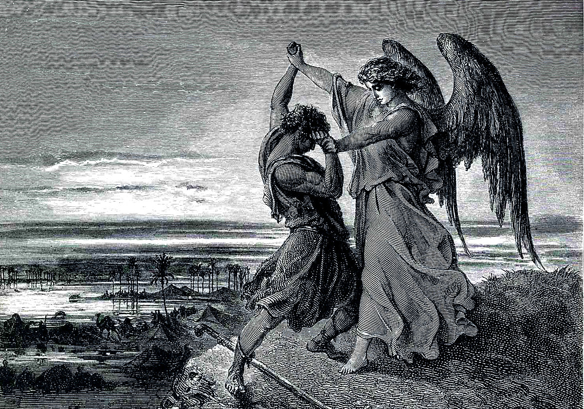 """""""Jacob Wrestling with the Angel"""" by Gustave Dore"""