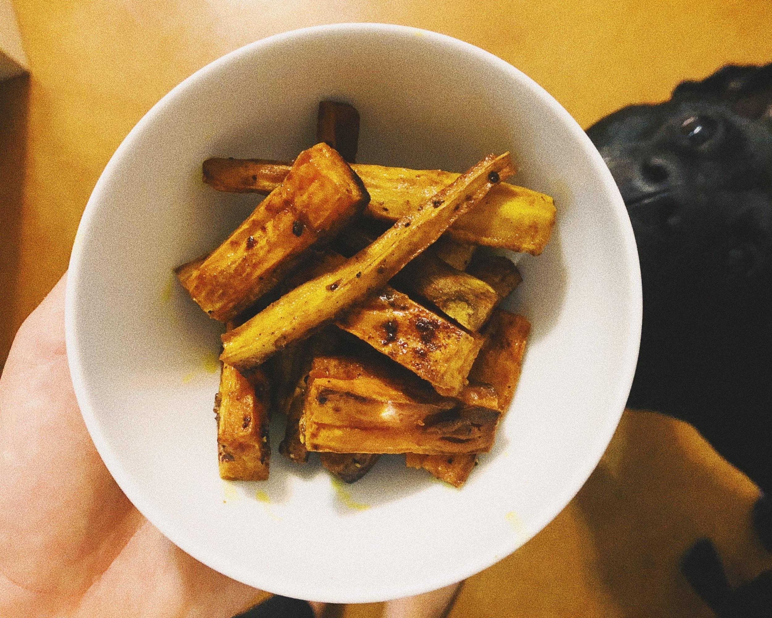 turmeric roasted sweet potato & parsnip fries -