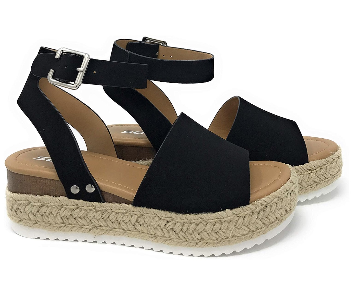 SODA Topic Black Casual Espadrilles Trim Rubber Sole Flatform Studded Wedge Buckle Ankle Strap Open Toe Sandals