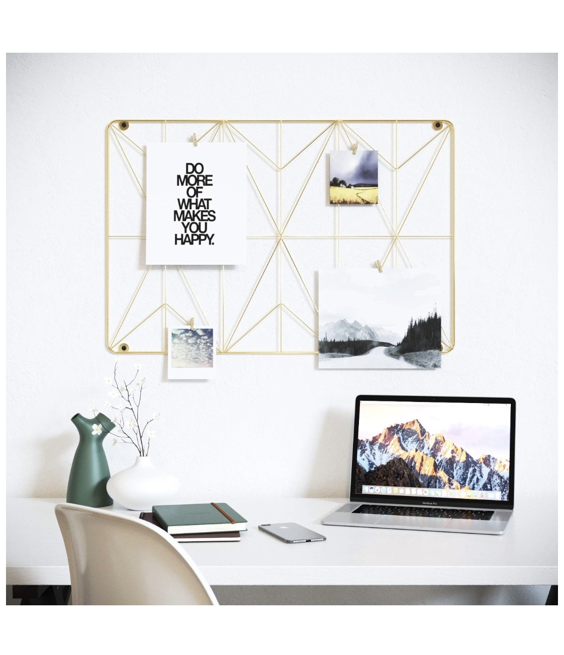 Cevillo Stylish Wire Metal Wall Grid Panel – Perfect as Photo Frame, Office Organization – Gold Multi-Functional Wall Storage Display (Gold   Rectangle)