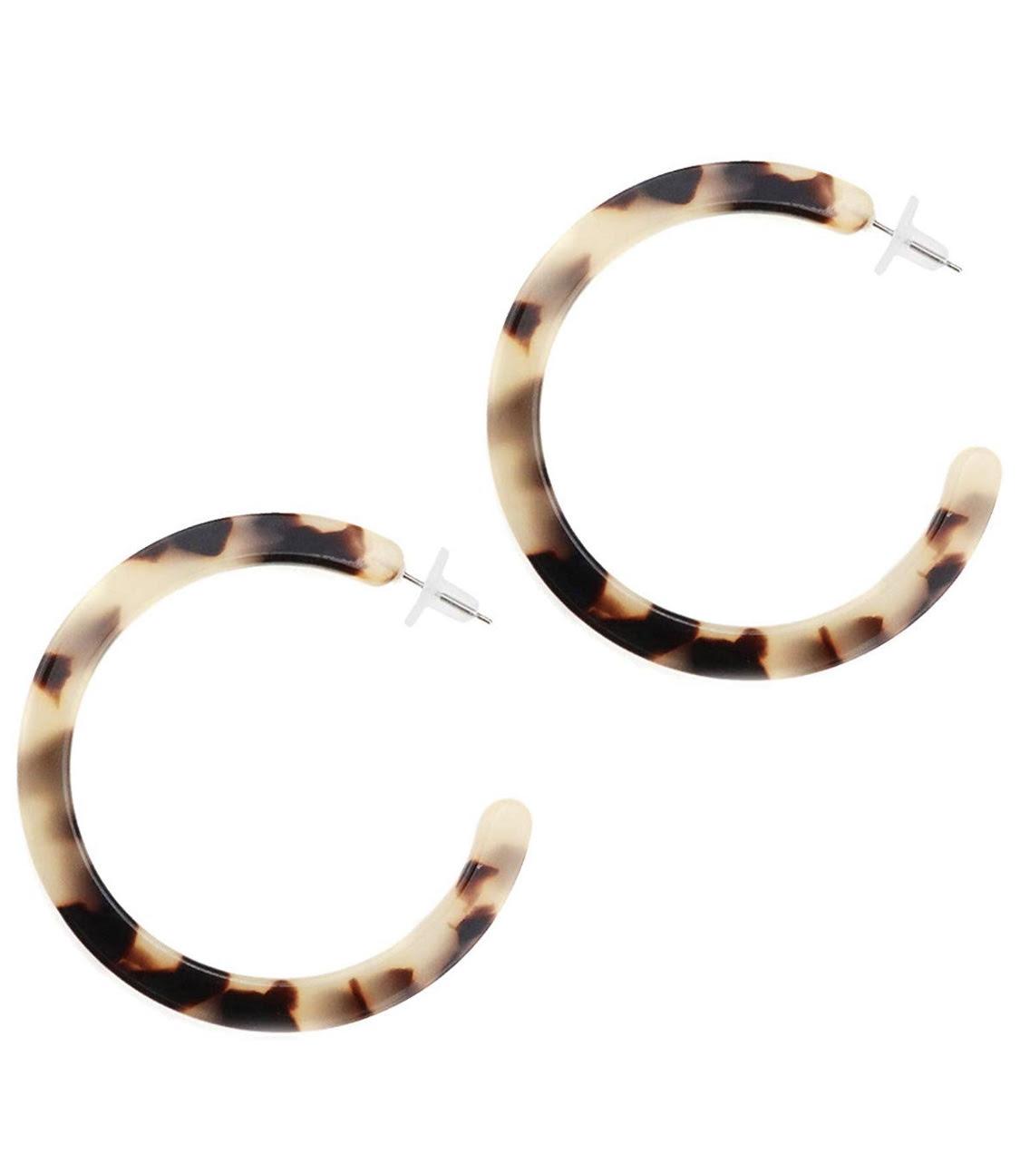 Gleamart Mottled Acrylic Hoop Earrings Tortoise Shell Resin Circle Stud Earrings for Women