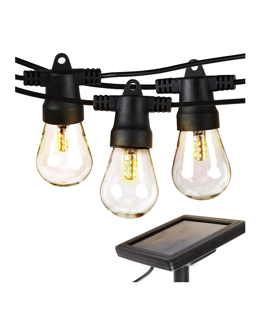 Brightech Ambience Pro - Waterproof LED Outdoor Solar String Lights - Hanging 1W Vintage Edison Bulbs - 27 Ft Heavy Duty Patio Lights Create Cafe Ambience On Your Porch - Soft White