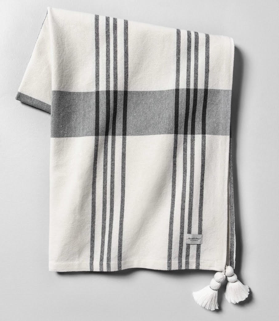 Outdoor Blanket Plaid Gray with Tassels - Hearth & Hand™ with Magnolia