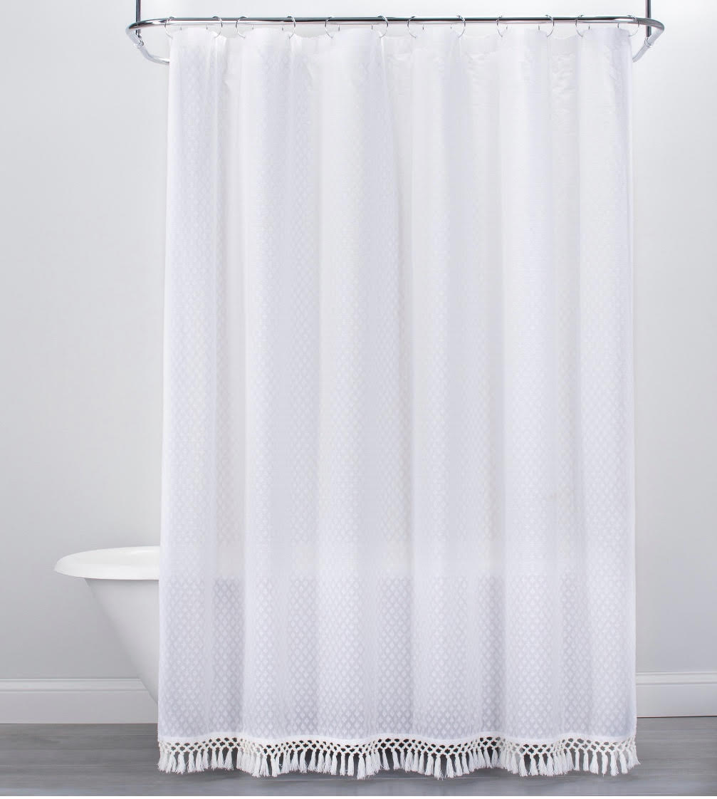 Textured Dot Fringed Shower Curtain White - Opalhouse™