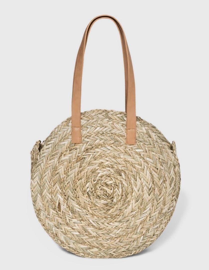 Circle Straw Tote Handbag - Universal Thread™ Natural