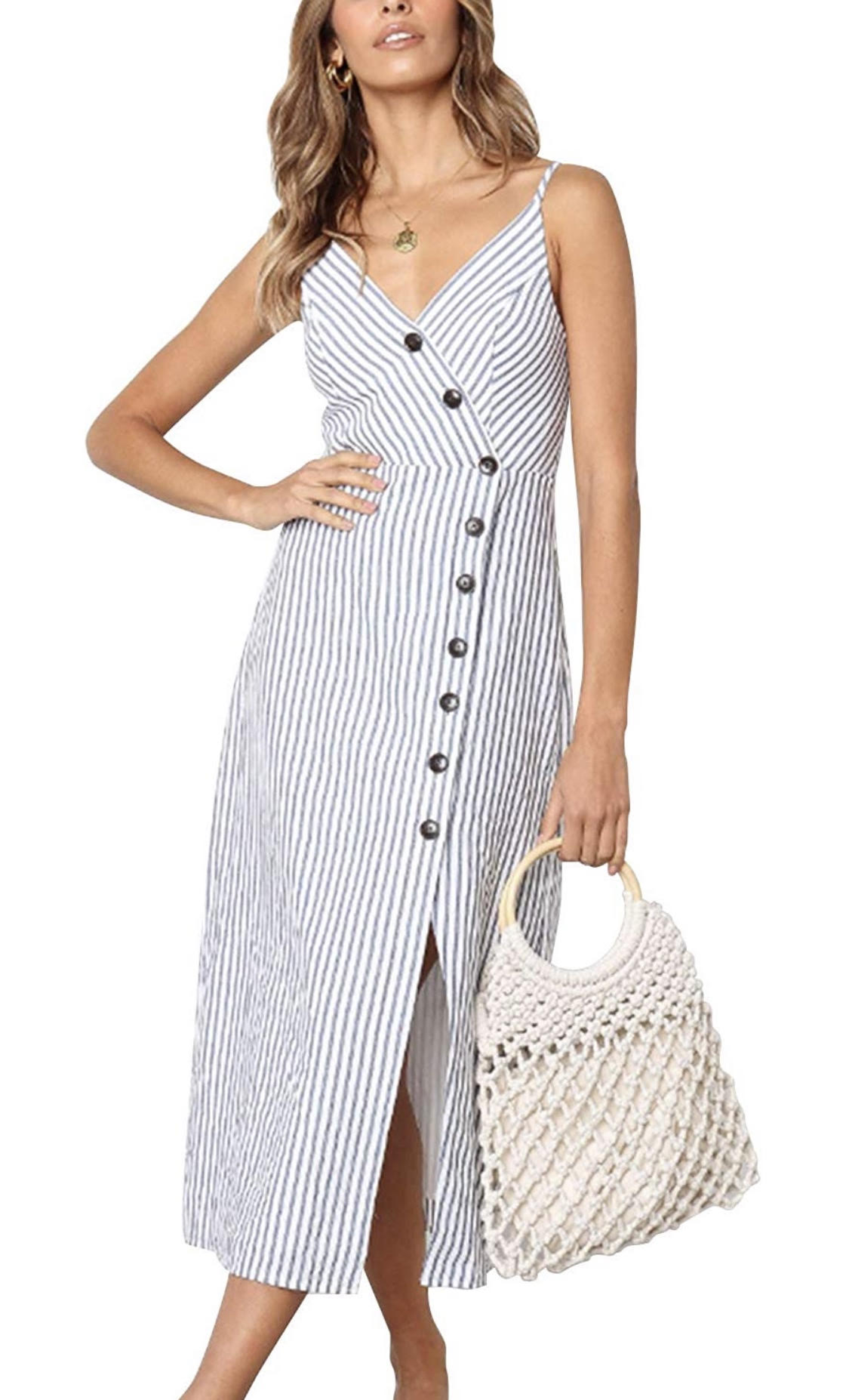 Blooming Jelly Womens V Neck Dress Sleeveless Spaghetti Strap Button Down Striped Summer Casual Midi Dress