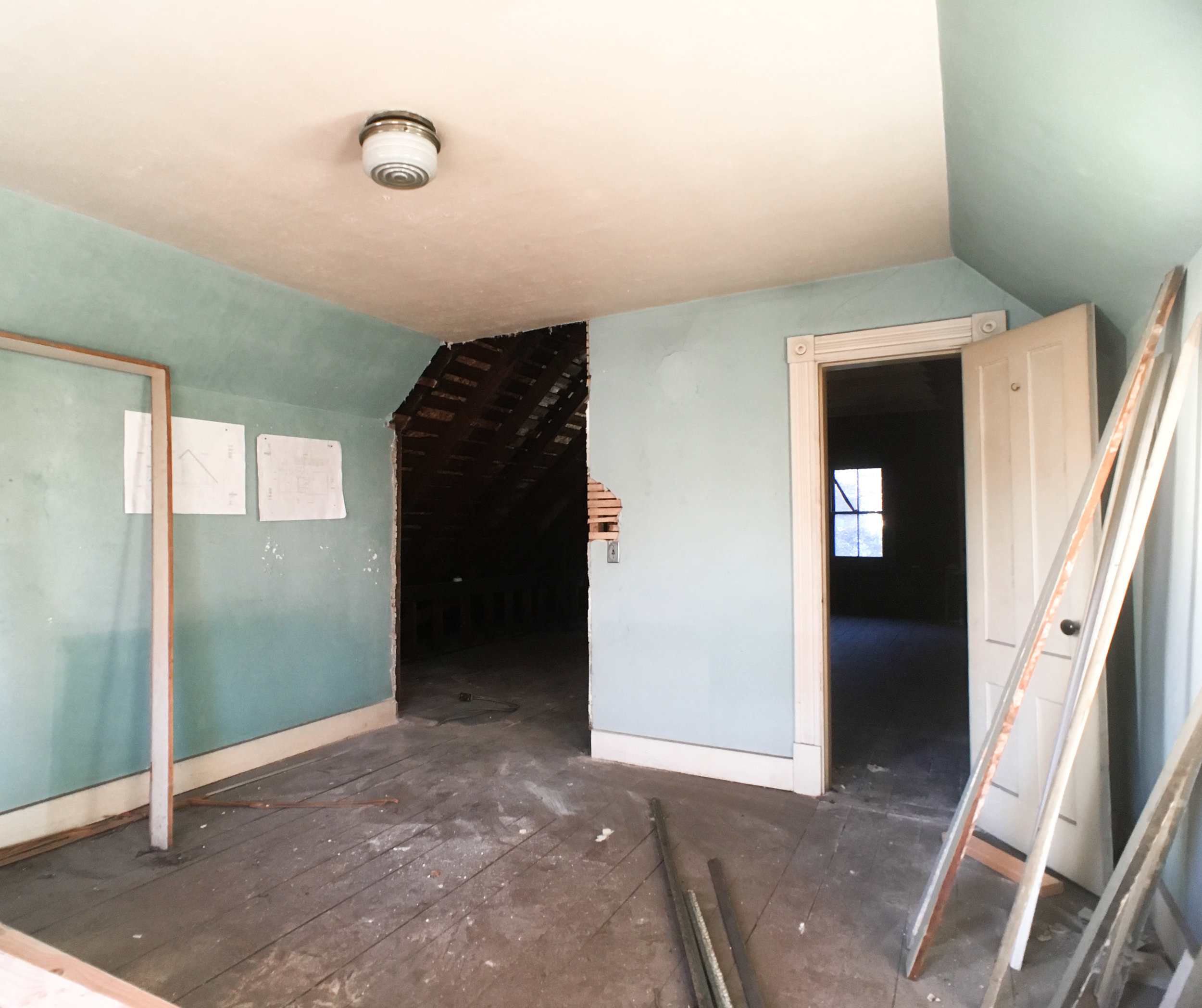 This original room was quite charming but definitely need some love. We will be keeping most of the layout and original details but will be modifying where it meets the hallway and the new future upstairs bathroom.