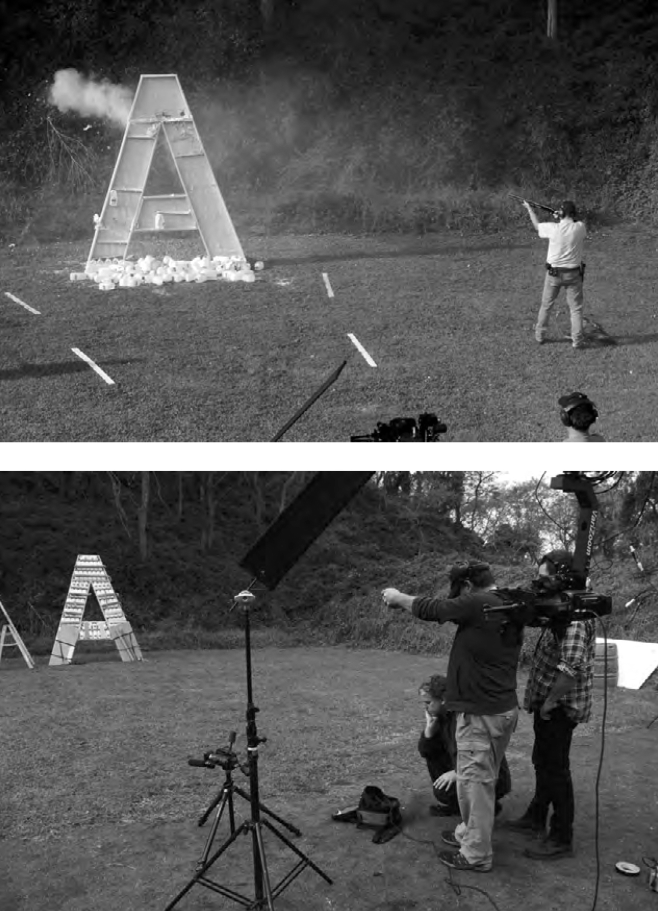Production images of the letter A in Destroyed Word, lmed at an undisclosed location in New Zealand. Photos by Bruce E. Phillips.